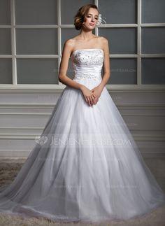 Ball-Gown Strapless Chapel Train Ruffle Beading Zipper Up Strapless Sleeveless Church General Plus No Winter Spring Summer Fall White Tulle Wedding Dress