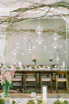 Hanging delicate crystal vases for decoration