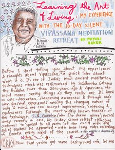 Great article on Vipassana retreat with nice picture of Goenkaji!