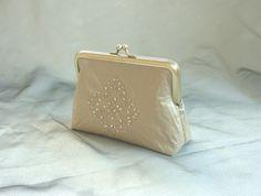 Gold clutch silk purse wedding clutch sequins formal by maplemist