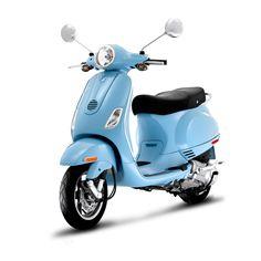 light blue Vespa.