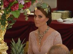 TIARA ALERT: The Duchess of Cambridge wore Queen Mary's Lovers Knot Tiara at the banquet during the state visit from Spain at Buckingham Palace on 12 July 2017.