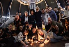 Say 'TARDIS'! The cast and crew of Doctor Who take a group photo on the last day of filming Series 10.