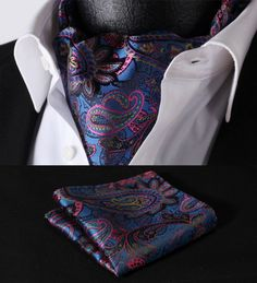 Ascot - Blue Pink Paisley Silk Ascot Cravat
