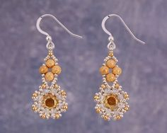 Crystal Flower Earrings Gold and Silver with by Turquoisebee