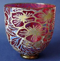 Timothy Harris Isle of Wight Studio Glass Graal  Red Straight-sided Vase Gold Flowers http://www.bwthornton.co.uk/isle-of-wight-richard-golding-bath-aqua-glass.php