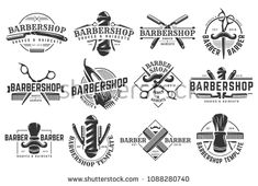 12 set of Vector Barbershop vintage Logo template on isolated white background