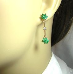 Cts Colombian Emerald Earrings with two Cts Diamonds Set in Gold Sapphire And Diamond Earrings, Emerald Earrings, Drop Earrings, Igneous Rock, Emerald Color, Colombian Emeralds, Beautiful Earrings, Ear Piercings, Colored Diamonds