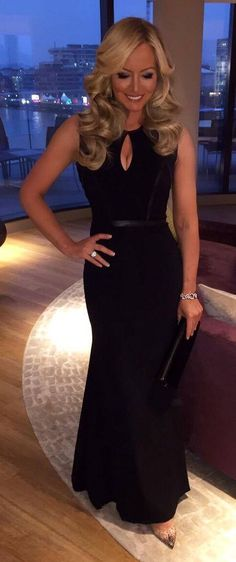 5249aa3b11 Michelle Mone wearing our black evening wear gown to the Insurgent World  Premiere. http