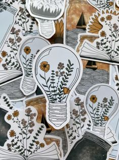 Mason Jar Flowers, Mason Jars, Sticker Shop, Sticker Design, Flower Doodles, Glossier Stickers, Cute Stickers, Artsy, Journaling