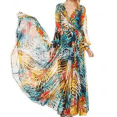 Women's V Neck Print Chiffon Maxi Dress - USD $ 22.99