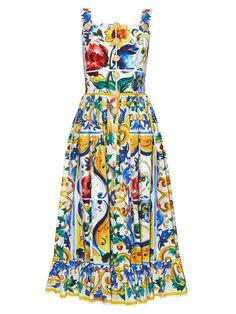 Majolica-print frilled-hem dress | Dolce & Gabbana | MATCHESFASHION.COM US