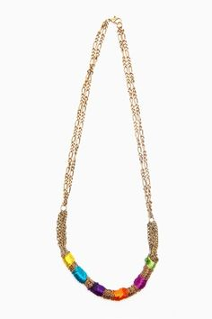 embroidery thread + gold chain = this necklace