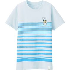 UNIQLO DISNEY PROJECT Short Sleeve Graphic T-Shirt ($6.48) ❤ liked on Polyvore featuring tops, t-shirts, light blue, swim t shirts, short sleeve t shirts, graphic design t shirts, blue t shirt and beach t shirts