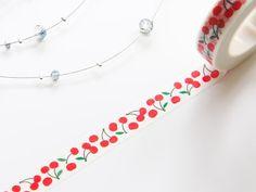 Red Cherry Thin Washi Tape 10mm/ Masking Tape/ by WashiStation