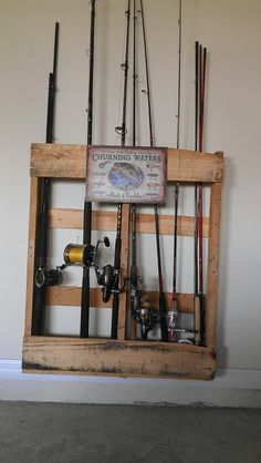 Pallet fishing pole holder