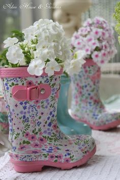 simple spring bouquets in cute little rain boots