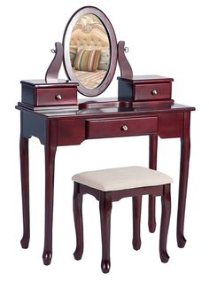 Merax Vanity Set with Stool Dressing Make-Up Table with 3 Drawers and Adjustable Mirror Bedroom, Red Furniture, Home, Bedroom Mirror, Bedroom Decor For Small Rooms, Vanity Table, Upholstery Fabric For Chairs, Bedroom Vanity Set, Furniture Design, Vanity Set