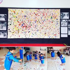 #flashbackfriday In 2012 we listened to jazz music and was inspired by Jackson Pollock to create this collaborative piece. It still hangs in the studio today#lakesideartstudio #adventuresinart #preschool #preschoolart #earlychildhood #earlychildhoodeducation #ece #childrensart #art #arteducation #arted #colorful #creativekids #letthemcreate #reggioinspired #drippainting #jacksonpollock by lakesideartstudio
