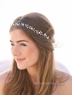 Pearl and Rhinestone Wedding Hair Vine. I hand wired tiny pearls and rhinestone flowers to create this beaded wedding hair accessory. It is