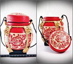 Thai Painted-Handmade Wooden Container 11 Rice Box, Handmade Wooden, Saddle Bags, Container, Food, Essen, Meals, Yemek, Eten