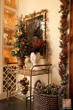 Accent your everyday decor with garland and ornaments.