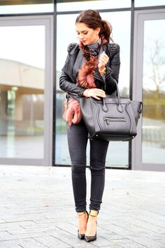 outfit, wearing Celine luggage bag, Lookbookstore studded leather jacket, Guess by Marciano pumps  see more here: http://fashionhippieloves.com/2015/02/rainy-stormy/