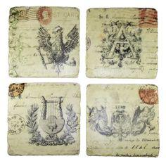 Untersetzer Nostalgie aus Stein mit Korkrückseite 4er Set; 9,5 x 9,5 x 1,1 cm, 4 Untersetzer im Set, bedruckter Stein mit Korkrückseite