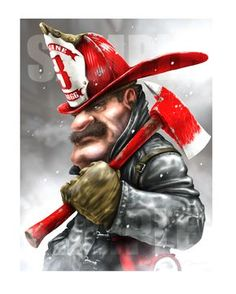 Firefighter Illustration by Paul Combs - Illustration and Limited Edition Fire and Rescue Artwork created by Paul Combs Firefighter Humor, Firefighter Pictures, Volunteer Firefighter, Foto 3d, Wildland Fire, Fire Art, Buy Prints, Fire Department, Fire Trucks