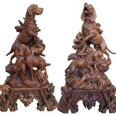 Carved wood hunting dogs