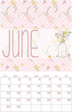 Free printable calendar, June, by Simply Graphic Design - http://www.etsydigitaldesigners.com/2014-free-printable-calendar.php