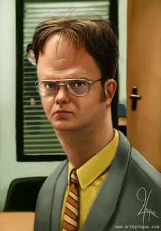 Popular The Office character Dwight Schrute is shown here in another comical big headed caricature.