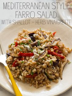 Mediterranean Style Farro Salad with Shallot-Herb Vinaigrette.  Recipe here: https://liveinitalian.ryan-adsi.com/The-Recipes/Fall-Picnic/Mediterranean-Style-Farro-Salad-with-Shallot-Herb.aspx