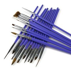 ARTE CLAVO 19 Nail Art Wooden Handle Brush Pen Acrylic DIY Kit Set Purple >>> For more information, visit image link.