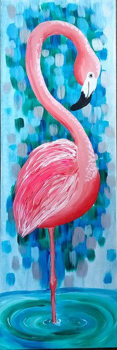 "Paint our brand new ""Flamingo Amorè"" with us! #paintandsip #paintdrinkhavefun #paintparty #girlsnightout #pinotsglenview #pinotspalette"