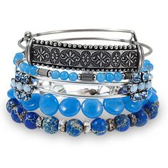 Alex and Ani Sideshow Set of 5 Bangles Blue Raspberry - Russian Silver
