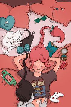 Slumber Party Sweethearts  by Daaakota #AdventureTime #PrincessBubblegum #Marceline