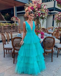 Classy V Neck Tulle Tiered Ruffles Prom Dress,Floor Length A Line Formal Gown,Party Dresses for Wedding sold by KProm. Shop more products from KProm on Storenvy, the home of independent small businesses all over the world. Gala Dresses, Evening Dresses, Summer Dresses, Wedding Dresses, Paris Chic, Formal Gowns, Dream Dress, Dress To Impress, Dresses Online