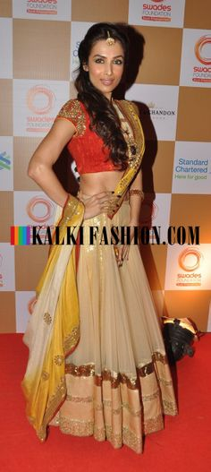 Malaika Arora Khan in shimmer lehenga by Vikram Phadnis attends the Swades Foundation http://www.kalkifashion.com/