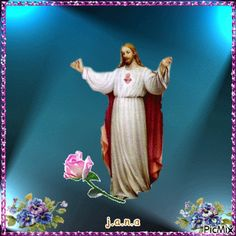 Consulte o PicMix j.a pertencente à j.a sobre PicMix. Image Jesus, Jesus Christ Images, Angel Pictures, Jesus Pictures, Jesus Loves Us, Photo Frame Design, Good Night Blessings, Good Night Greetings, Flowers Gif