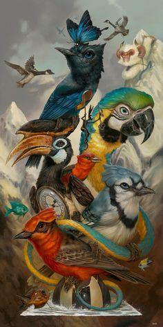 Hatchlings by Greg 'Craola' Simkins Artist Surrealism Painting, Rabbit Art, Tier Fotos, Whimsical Art, Surreal Art, Bird Art, Art Reference, Fantasy Art, Art Drawings