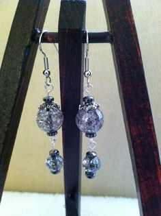 Cracked glass Dangle earrings in black and by NativePrideCreations, $4.00