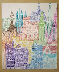 Edinburgh Towers by cheism on Etsy, $90.00: this would be really cute in a black frame in our half bath
