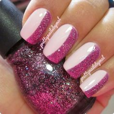 Half Pink Glitter, Half Pinkish Nude Nails by Pretty Nails by Mal