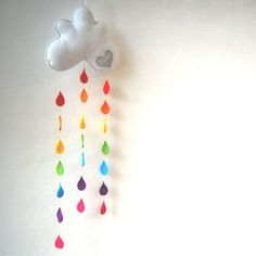 rainbow raindrops cloud mobile from clara luna