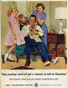 """""""Stop pushing- you'll all get a chance to talk to Grandma"""" - Bell Telephone System, 1959"""
