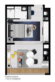 Além dos apartamentos de 14m², o empreendimento Vita Bom Retiro, da Vitacon, tem também unidades de 33m² e de 60m², que podem ser conjugados para formarem apartamentos maiores. Esta planta é da unidade de 33m²