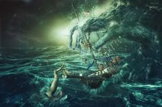 werbefotografie fotocollage die Welle ein phantastisches Bild einer Untergangsszene