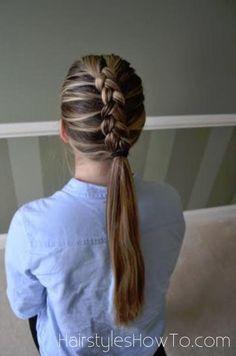 Dutch braid finished into a ponytail