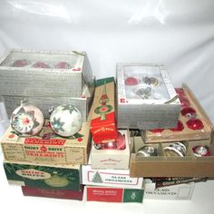 93 Shiny Brite Christmas Ornaments Mica Indents Stencils Vintage Free Shipping